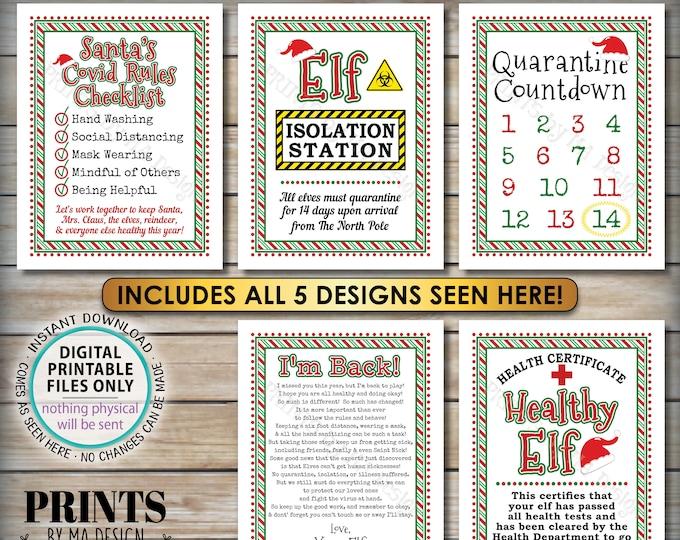 "Elf Quarantine Signs, Keep Santa Healthy during Covid, Christmas Elf Quarantine 14 Days Isolation, Five PRINTABLE 8.5x11"" Digital Files <ID>"