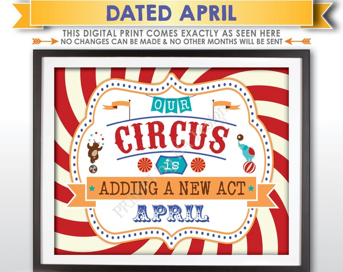 Circus Pregnancy Announcement, Our Circus is Adding a New Act in APRIL Dated PRINTABLE Circus Themed Baby Reveal Carnival Sign <ID>