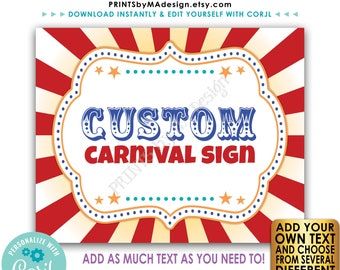 """Custom Carnival Sign, Carnival Theme Party Sign, Circus Birthday Party, One PRINTABLE 8x10/16x20"""" Sign <Edit Text Yourself w/Corjl>"""