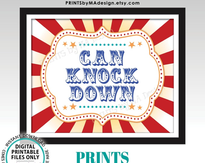 """Can Knock Down Game Sign, Carnival Games, Circus Party Activities, Festival Game Tent, PRINTABLE 8x10/16x20"""" Sign <ID>"""