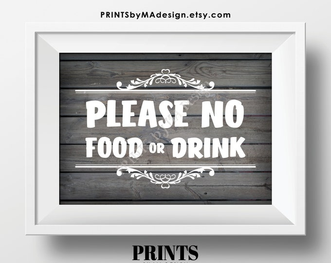 """Please No Food or Drink Sign, Keep Food Out, PRINTABLE 5x7"""" Rustic Wood Style Sign, Rules for Home Sign, House Rules <Instant Download>"""