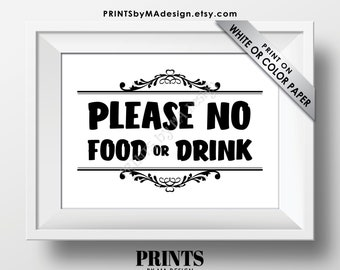 "Please No Food or Drink Sign, Keep Food Out, PRINTABLE 5x7"" Black & White Sign, Rules for Home Sign, House Rules <Instant Download>"