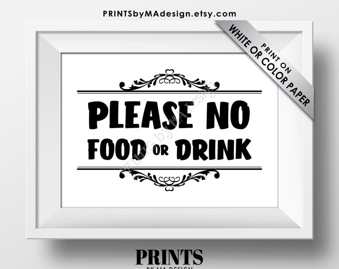 """Please No Food or Drink Sign, Keep Food Out, PRINTABLE 5x7"""" Black & White Sign, Rules for Home Sign, House Rules <Instant Download>"""
