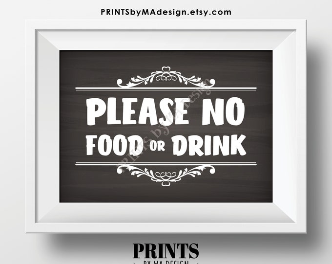 """Please No Food or Drink Sign, Keep Food Out, PRINTABLE 5x7"""" Chalkboard Style Sign, Rules for Home Sign, House Rules <Instant Download>"""