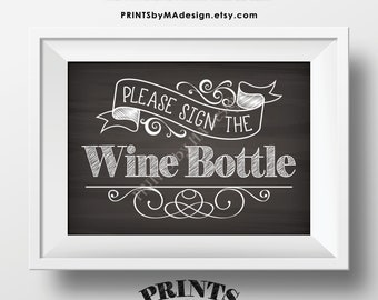"""Please Sign the Wine Bottle Sign, PRINTABLE 5x7"""" Chalkboard Style Sign, Birthday Retirement Wedding Anniversary Guestbook Alternative <ID>"""