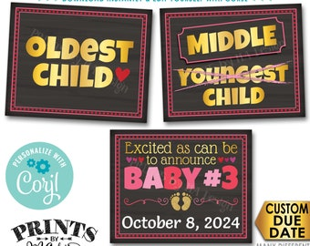 Valentine's Day Pregnancy Announcement, Oldest Middle Youngest 3rd Baby, PRINTABLE Baby #3 Reveal Signs <Edit Yourself with Corjl>