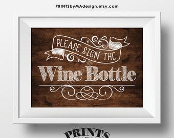 """Please Sign the Wine Bottle Sign, PRINTABLE 5x7"""" Rustic Wood Style Sign, Birthday Retirement Wedding Anniversary Guestbook Alternative <ID>"""