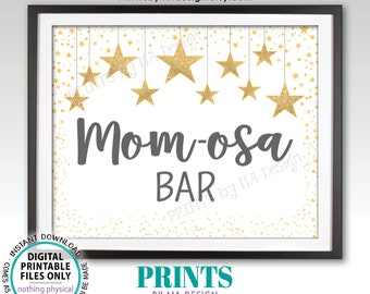 """Mom-osa Bar Sign, Gray Momosa Sign, Baby Shower Sign, Baby Shower Decor Gold Glitter Twinkle Stars, PRINTABLE 8x10"""" Sign <ID>"""