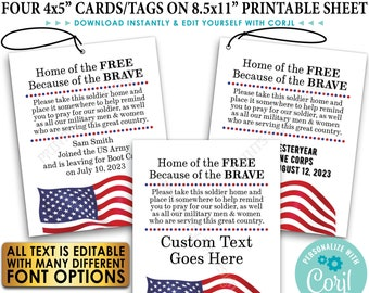 """Please Pray for Our US Military Boot Camp Send-off, Take a Soldier, PRINTABLE 8.5x11"""" Sheet of 4x5"""" Tags/Cards <Edit Yourself w/Corjl>"""