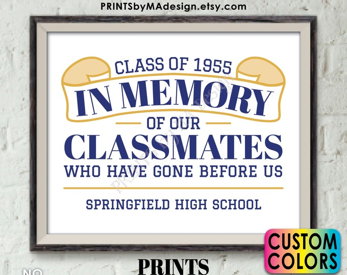 """In Memory Sign for Reunion Memorial, PRINTABLE 8x10/16x20"""" Sign, In Memoriam of the Classmates Who Have Gone Before Us, Deceased Memorial"""