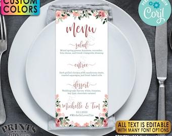 "Custom Wedding Menu with a Floral Design, PRINTABLE 4x9"" Editable Template, Rose Gold Blush Flowers <Edit Yourself w/Corjl>"