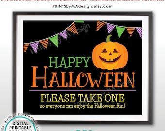 "Happy Halloween Candy Sign, Please Take One, Jack-O-Lantern Pumpkin, PRINTABLE 8x10/16x20"" Halloween Treat Sign, Black Background <ID>"