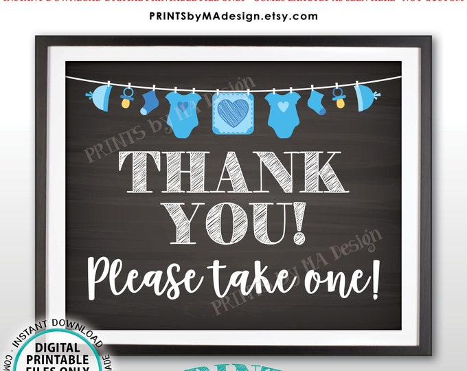 "Thank You Sign, Thank You Please Take One Baby Shower Favors SIgn, It's a Boy, Blue Clothesline, PRINTABLE 8x10"" Chalkboard Style Sign <ID>"
