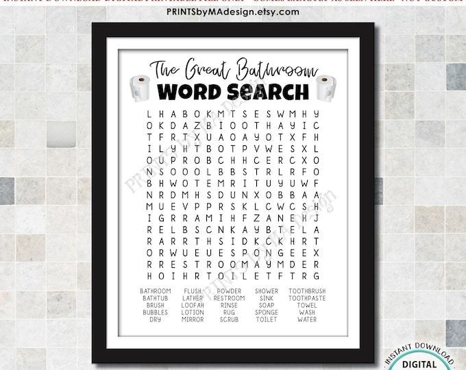 """The Great Bathroom Word Search, Silly Housewarming Gift, Fun Bathroom Puzzle, Toilet Paper, Digital PRINTABLE File, 8x10"""" or 16x20"""" <ID>"""