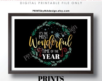 """It's the Most Wonderful Time of the Year Wall Art, Christmas Decoration, Xmas Decor, PRINTABLE 24x36"""" Sign <ID>"""