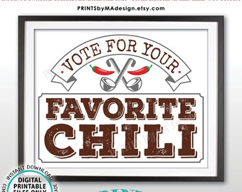 "Vote for Your Favorite Chili Sign, Chili Voting, PRINTABLE 8x10/16x20"" Chili Cook-Off Sign <ID>"