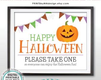 "Happy Halloween Candy Sign, Please Take One, Jack-O-Lantern Pumpkin, PRINTABLE 8x10/16x20"" Halloween Treat Sign, White Background <ID>"