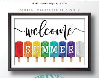 "Welcome Summer Sign, Ice Pops Frozen Dessert, PRINTABLE 24x36"" Sign w/Colorful Rainbow Frozen Treats, Hello Summer <Instant Download>"