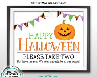 "Happy Halloween Candy Sign, Please Take Two Treats, Jack-O-Lantern Pumpkin, PRINTABLE 8x10/16x20"" Treat Sign, White Background <ID>"