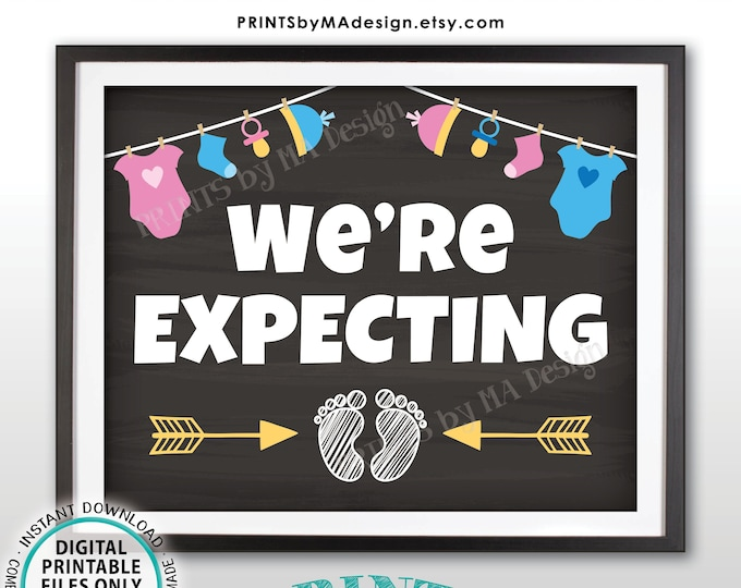 """We're Expecting Sign, Pregnancy Announcement Photo Prop, Pink & Blue PRINTABLE 8x10/16x20"""" Chalkboard Style Baby Reveal Sign <ID>"""