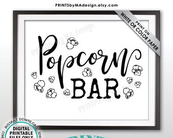 "Popcorn Bar Sign, PRINTABLE 8x10/16x20"" Sign, Instant Download Digital Printable File <ID>"