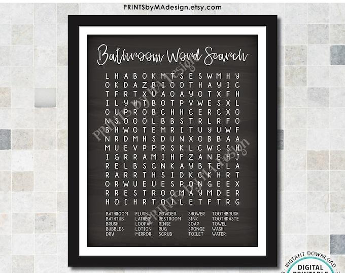 "Bathroom Word Search, Fun Bathroom Puzzle Housewarming Gift, PRINTABLE 8x10/16x20"" Chalkboard Style Sign <ID>"