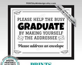 """Address Envelope Sign, Address Your Own Envelope, Thank You Card, PRINTABLE 8x10/16x20"""" B&W Sign, Graduation Party Decorations <ID>"""