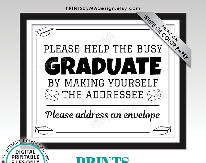 "Address Envelope Sign, Address Your Own Envelope, Thank You Card, PRINTABLE 8x10/16x20"" B&W Sign, Graduation Party Decorations <ID>"