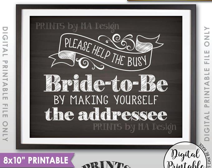 "Address Envelope Bridal Shower Sign, Help the Bride Addressing an Envelope Addresee, 8x10/16x20"" Chalkboard Style Printable Instant Download"
