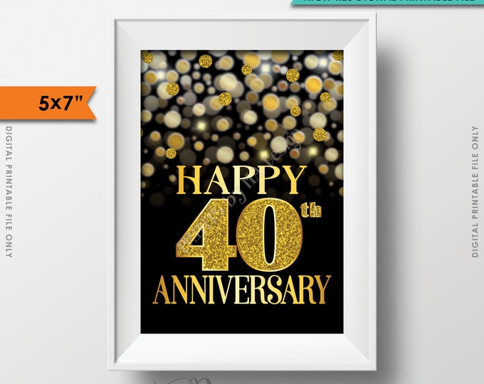 "40th Anniversary Card Black & Gold Glitter 40th Golden Bokeh, Fortieth Anniversary Card, 5x7"" Instant Download Digital Printable File"