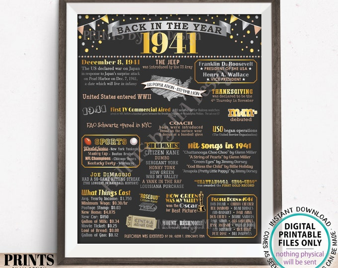 "Back in the Year 1941 Poster Board, Remember 1941 Sign, Flashback to 1941 USA History from 1941, PRINTABLE 16x20"" Sign <ID>"