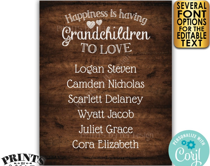 """Grandchildren Sign with Names of Grandkids, Grandparents Gift, PRINTABLE 8x10/16x20"""" Rustic Wood Style Sign <Edit Yourself with Corjl>"""