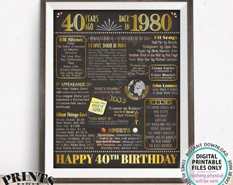 "40th Birthday Poster, Flashback 40 Years Ago Back in 1980 Poster Board, PRINTABLE 16x20"" Born in 1980 Sign <ID>"
