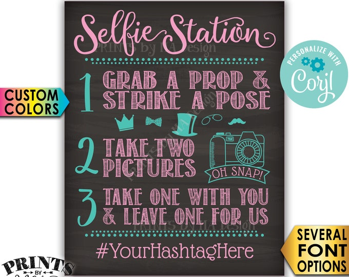 "Selfie Station Sign, Take 2 Pictures & Leave One For Us, Custom PRINTABLE 8x10/16x20"" Chalkboard Style Sign <Edit Yourself with Corjl>"
