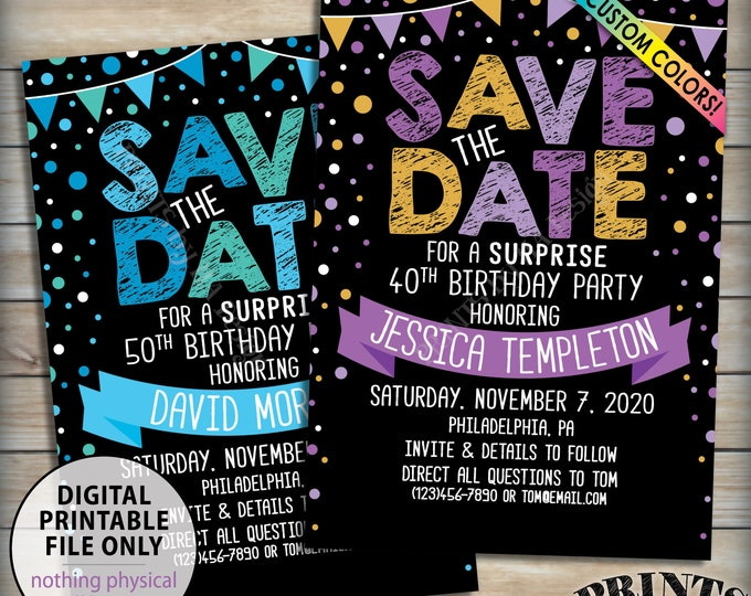"""Surprise Birthday Party Save the Date for a Surprise Party, Confetti Celebration, Bunting Flags, Custom Colors 5x7"""" Digital PRINTABLE File"""