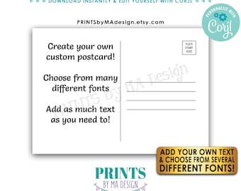 "Editable Postcard Back Side of Postcard Backside, Add Your Own Text, Custom Digital Printable File, 5x7"" or 4.25x6"" <Edit Yourself w/Corjl>"
