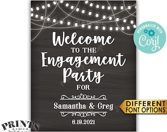 "Engagement Party Sign, Welcome to the Engagement Party Decoration, PRINTABLE 8x10/16x20"" Chalkboard Sign <Edit Yourself with Corjl>"