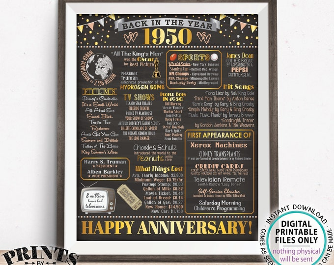 """Back in the Year 1950 Anniversary Sign, Flashback to 1950 Anniversary Decor, Anniversary Gift, PRINTABLE 16x20"""" Poster Board <ID>"""