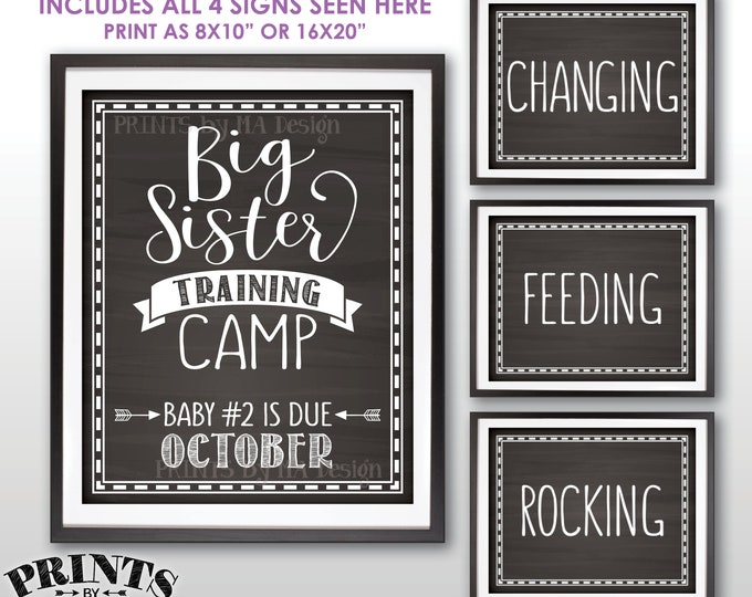"""Big Sister Training Camp Pregnancy Announcement Photo Props, Baby #2 is due OCTOBER Dated Chalkboard Style PRINTABLE 8x10/16x20"""" Signs <ID>"""