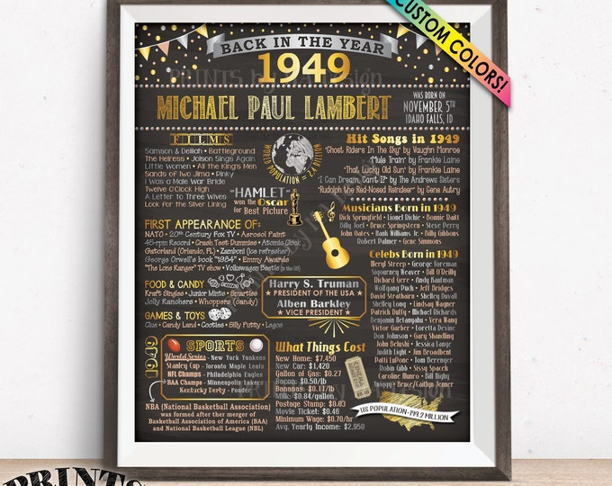 "Back in 1949 Birthday Poster Board, Flashback to 1949 Birthday Decoration, B-day Gift, Custom PRINTABLE 16x20"" Sign"