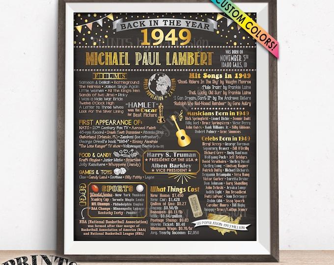 "Back in 1949 Birthday Poster Board, Flashback to 1949 Birthday Decoration, B-day Gift, Custom PRINTABLE 16x20"" Sign"