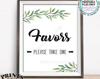 "Favors Please Take One, Wedding Favors, Bridal Shower Take a Favor, Wedding Greenery, Eucalyptus Sage Botanical, PRINTABLE 8x10"" Sign <ID>"