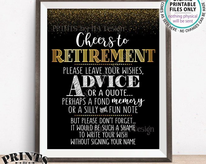 "Retirement Party Sign, Leave Your Wish Advice or Memory, Retiree, Cheers to Retirement Celebration, PRINTABLE Black & Gold 8x10"" Sign <ID>"