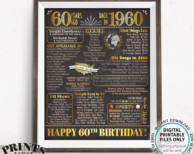 "60th Birthday Back in 1960 Sign, Born in 1960 Poster Board, Flashback 60 Years Ago B-day Gift, PRINTABLE 16x20"" Sign <ID>"
