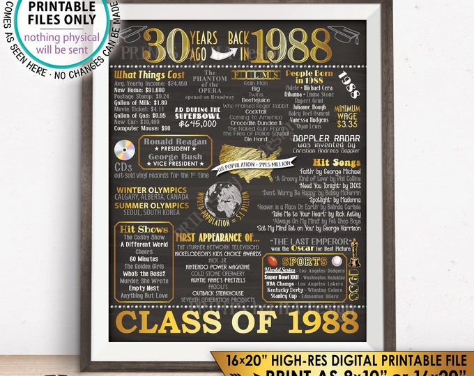 """30th Reunion Decoration Flashback to 1988 Poster Back in 1988 Flashback 30 Years Ago, PRINTABLE Chalkboard Style 8x10/16x20"""" Sign <ID>"""