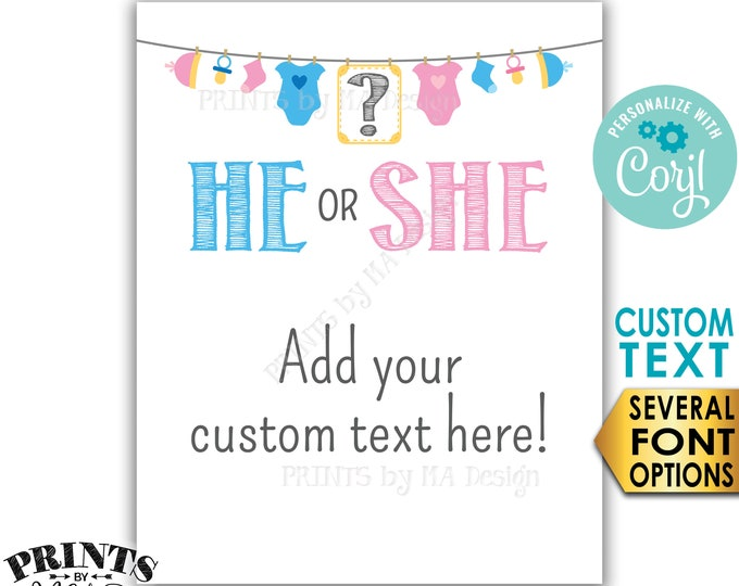 """Custom Gender Reveal Party Decoration, He or She, Baby Clothesline, PRINTABLE 8x10/16x20"""" Sign <Edit Yourself with Corjl>"""