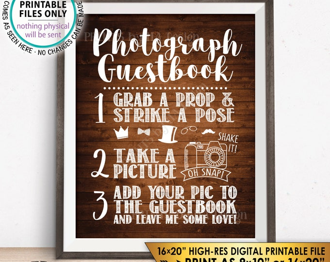 "Photograph Guestbook Sign, Add Your Picture to My Guest Book Sign, Photo Guestbook, Rustic Wood Style PRINTABLE 8x10/16x20"" Instant Download"
