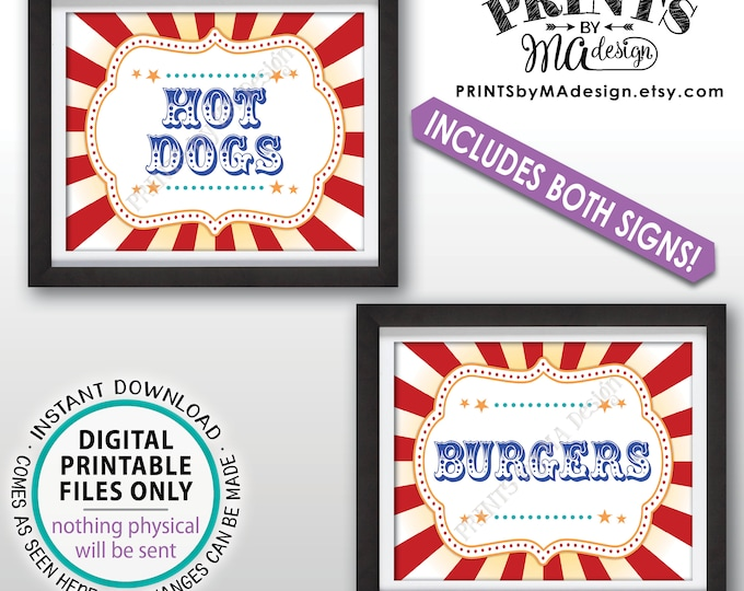 """Hot Dogs & Burgers Carnival Food Signs, Food Carnival Theme Party, Hot Dog, Burger, Circus Theme Party, Two PRINTABLE 8x10/16x20"""" Signs <ID>"""