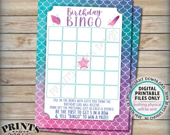 "Birthday Bingo, Mermaid Bingo Game, Girl's Birthday Party Game, Digital PRINTABLE 5x7"" Watercolor Style Card <ID>"