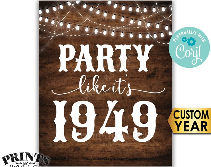"""Party Like It's Birthday Party Sign, ANY Year, Reunion Decoration, PRINTABLE 8x10/16x20"""" Rustic Wood Style Sign <Edit Yourself with Corjl>"""